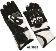 Men's Sport bike riding gloves in White/Black