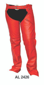 Ladies Red Leather Chaps