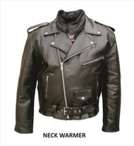 Allstate Leather Men's Motorcycle Jacket with Neck Warmer