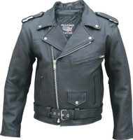 Mens Drum Dyed Naked Cowhide Biker Jacket