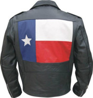 Allstate Leather Men's Basic Motorcycle Jacket w/ Texas Flag
