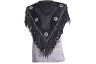 Women Poncho w/ Fringes and Beads
