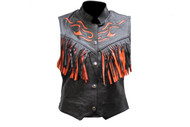 Women Black and Orange Flame Vest