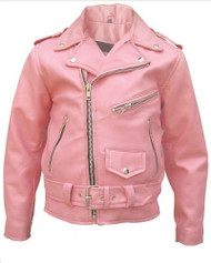 Girls Basic Pink Motorcycle jacket