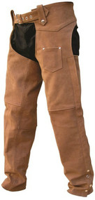 Allstate Leather Brown Buffalo Leather Unisex Chaps
