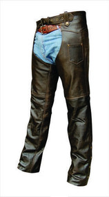 Retro Brown Buffalo Leather  Basic Chaps