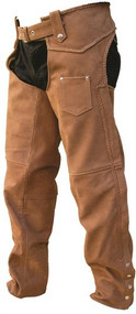 Brown Buffalo Leather Braided Men's Chaps