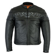 Daniel Smart DS700 Men's Scooter Jacket w/Reflective Skulls