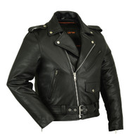 DS730 Men's Classic Plain Side Police Style M/C Jacket