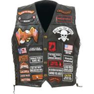 Diamond Plate™ Rock Design Genuine Buffalo Leather Biker Vest with 42 Patches
