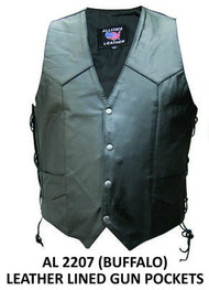 MEN'S SINGLE PANEL ALLSTATE LEATHER VEST WITH GUN POCKETS