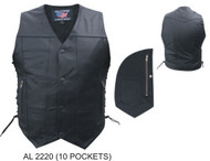 Allstate Leather Men's 10 Pocket Motorcycle Vest