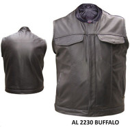 Allstate Leather Men's Denim Style Leather Vest  W/ Gun Pockets