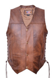 Men's 10 Pocket Brown Vest in Premium Buffalo Leather
