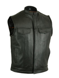 Milled Cowhide Vest with Scoop Collar & Hidden Zipper
