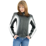 Dream Apparel Women's Leather Jacket With Gray & White Stripes