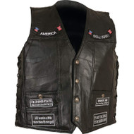 Genuine Buffalo Leather Concealed Carry Vest with Patches