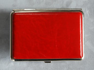 Red leatherette pill case front cover