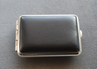 Small Leatherette Pocket Pill Case - Black