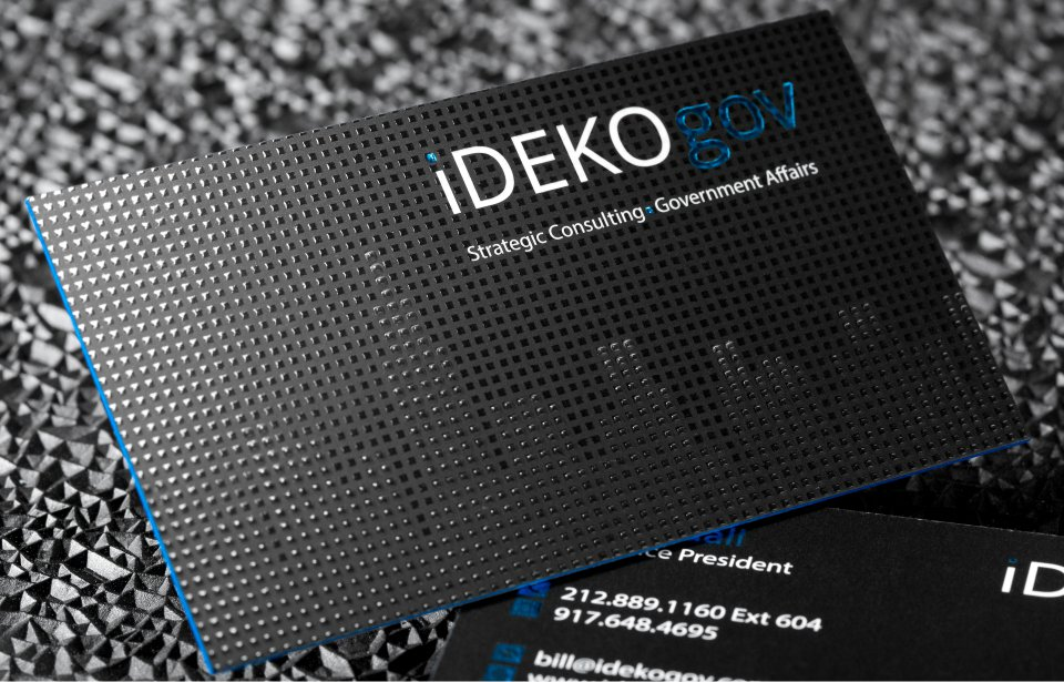 Gallery 32pt silk business card with blue foil embossing reheart
