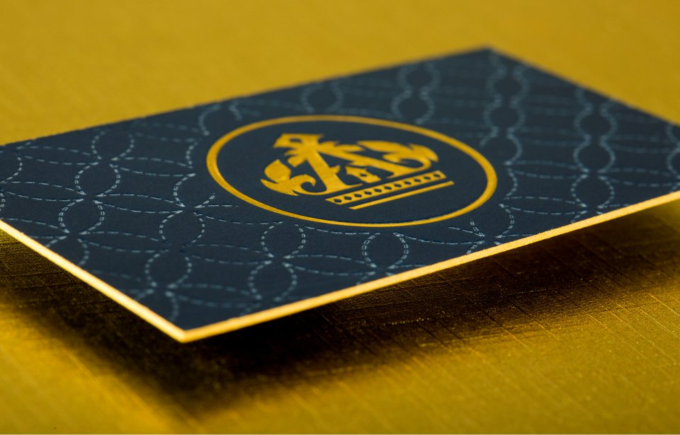 Gallery 48pt silk business card with gold foil debossing reheart Images