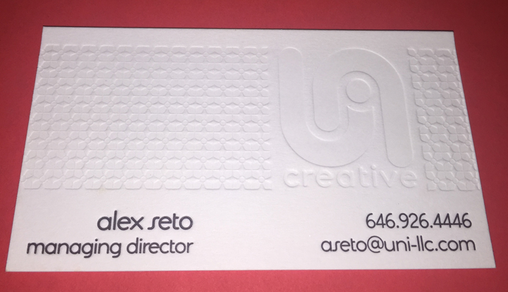 Gallery cotton letterpress business card with blind debossg reheart Images