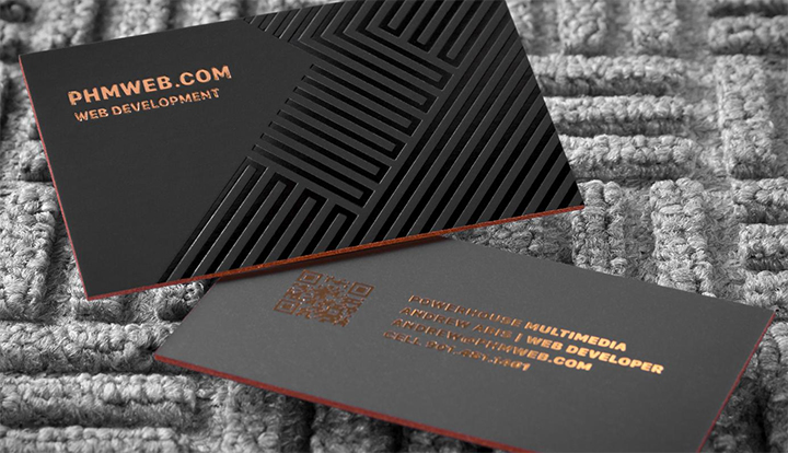 Gallery silk business card with copper foil spo uv reheart