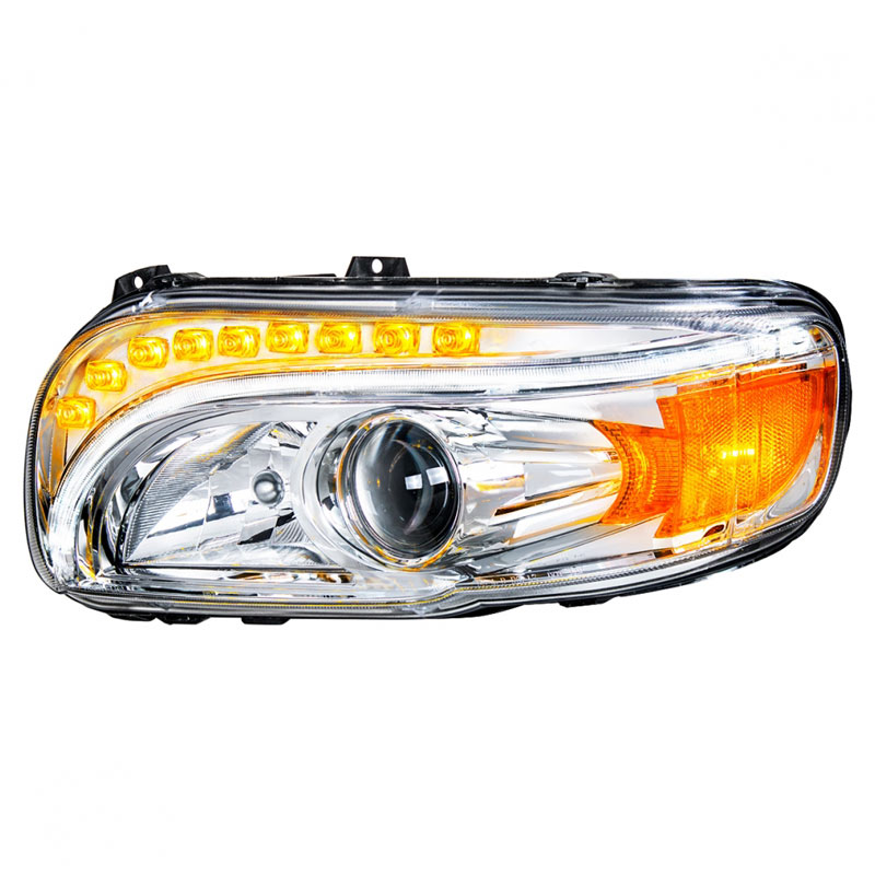 Peterbilt 388 389 367 567 Chrome Projection Headlight With LED Position on