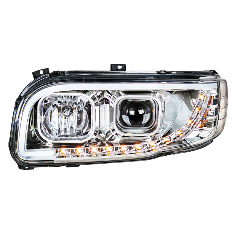 Peterbilt 388 389 367 567 Aftermarket Chrome Projection Headlight with LED  Bar