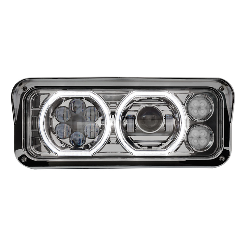 Peterbilt 379 378 365 357 Chrome Projector Headlight Assembly With Halo LED