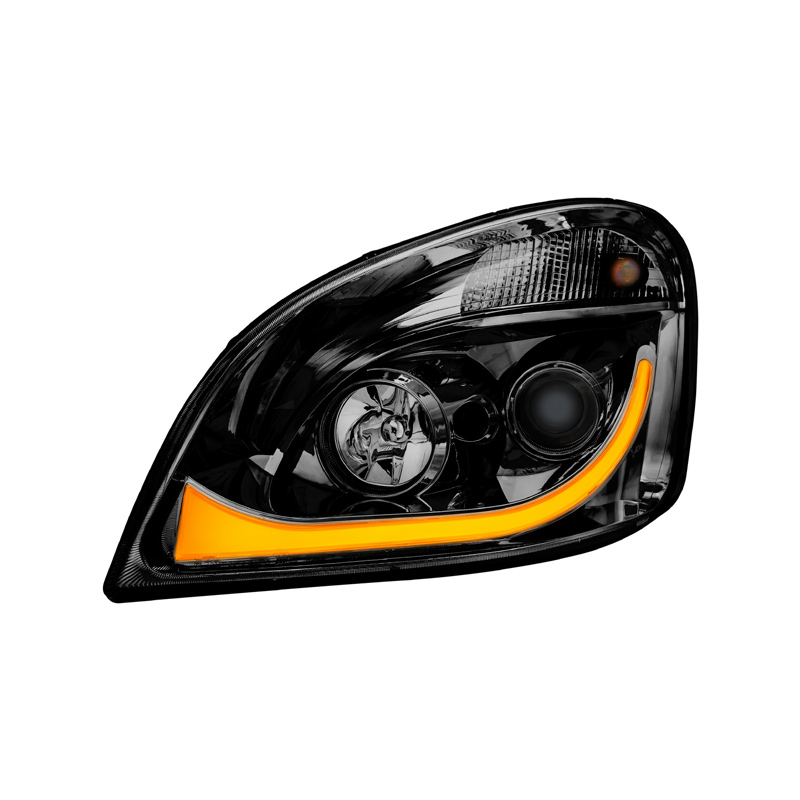 Freightliner Cascadia Blackout LED Projector Headlight With LED Dual  Function Turn Signal