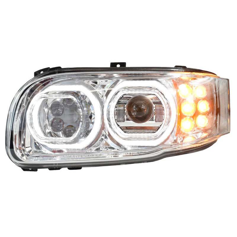 Peterbilt 388 389 367 567 Full LED Chrome Aftermarket Projector Headlight on