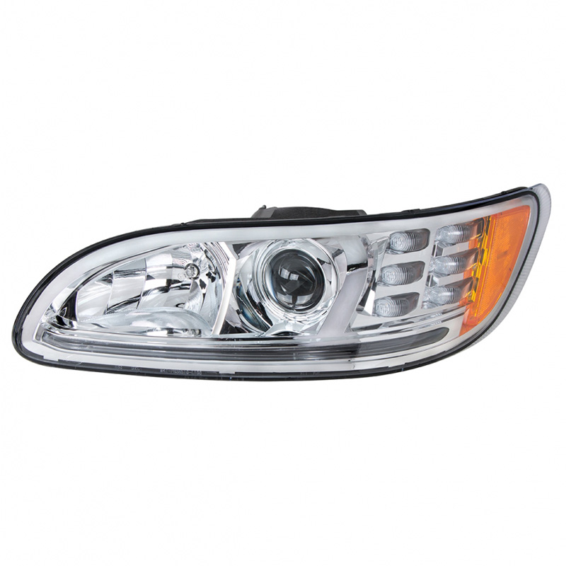 Peterbilt 382 384 386 387 Chrome Projector Headlights With Amber LED Marker  Light & Dual Function LED Glow Light