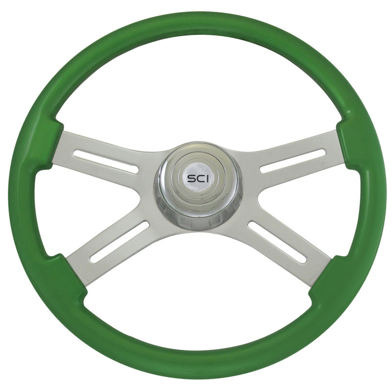 "Hulk Green 18"" Steering Wheel With Chrome Bezel"