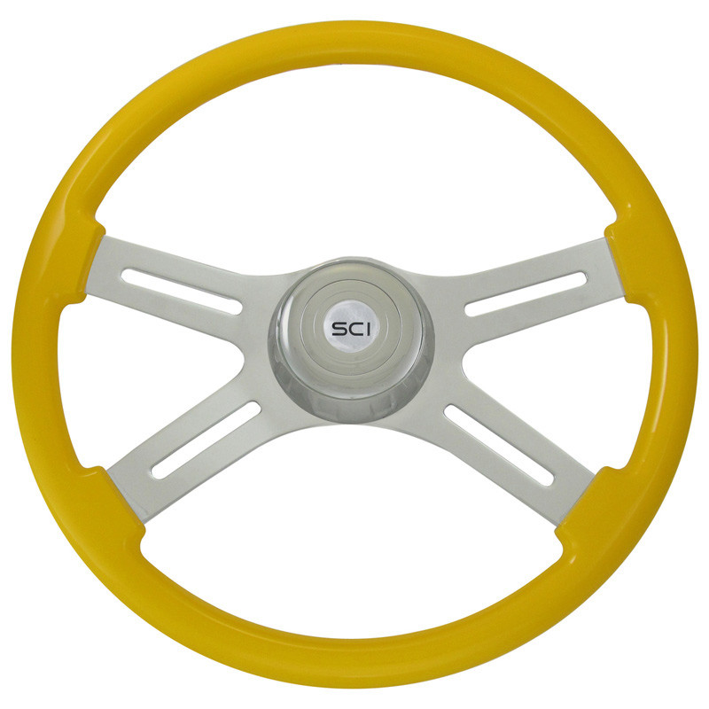 "Classic Yellow 18"" Steering Wheel With Chrome Bezel"