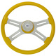 "Classic Yellow 18"" Steering Wheel With Yellow Bezel"