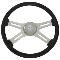 "Classic Black 18"" Steering Wheel With Chrome Bezel"