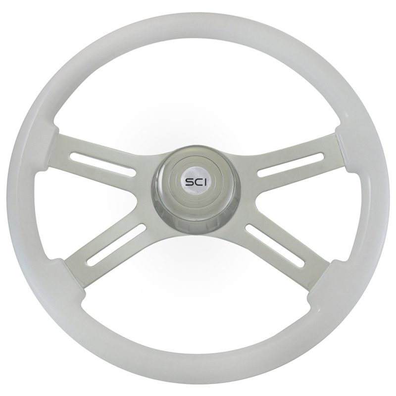 "Classic White 18"" Steering Wheel With Chrome Bezel"
