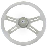 "Classic White 18"" Steering Wheel With Chrome Bezel"