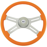 "Classic Orange 18"" Steering Wheel With Chrome Bezel"