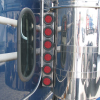 "Peterbilt 379 Rear Air Cleaner Light Bar With 2"" Red LEDs & Bezels"