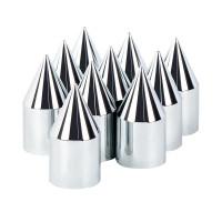 "10 Pack of Chrome Plastic 1 1/8"" Push On Spike Lug Nut Covers"