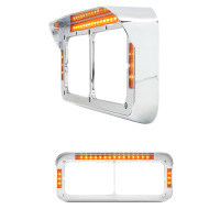 Chrome Rectangular Headlight Bezel With Amber LEDs