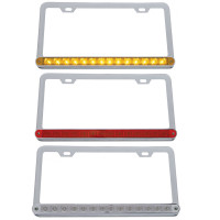 Universal 14 LED Chrome License Plate Frame