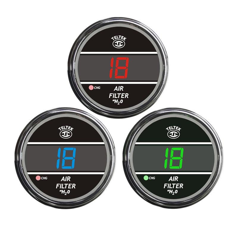 Truck Air Filter Monitor TelTek Gauge Color Display Options