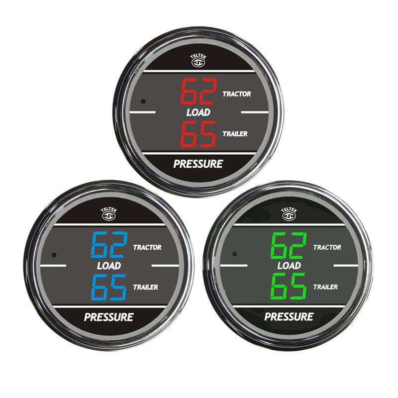Truck Dual Display Load Pressure Tractor & Trailer TelTek Gauge Color Display Options