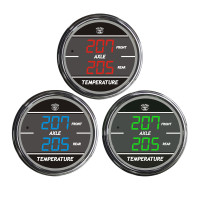 Truck Dual Display Front & Rear Axle Temperature TelTek Gauge Color Display Options