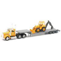 Kenworth W900 Truck Hauling A Backhoe Loader 1/43 Scale