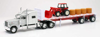 Peterbilt 389 With Flatbed Hauling Hay And Farm Tractor Tractor 1/32 Scale