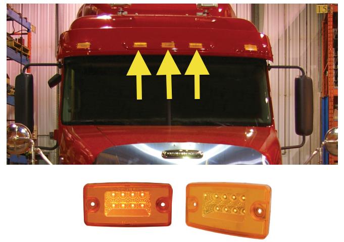 freightliner rectangular amber led cab light with 8 diodes. Black Bedroom Furniture Sets. Home Design Ideas